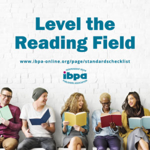 "People holding books and the tex ""Level the reading field"""