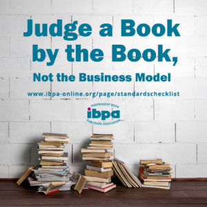 "A stack of books and the text ""Judge a book by the book"""
