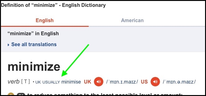 screen capture of dictionary for minimize