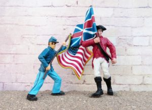 figurines of American and British soldiers holding flags and sparring