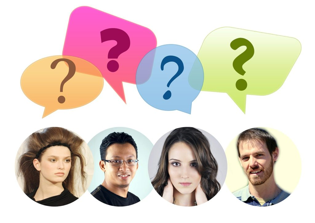 photos of four people with cartoon speech bubbles overhead, with question marks