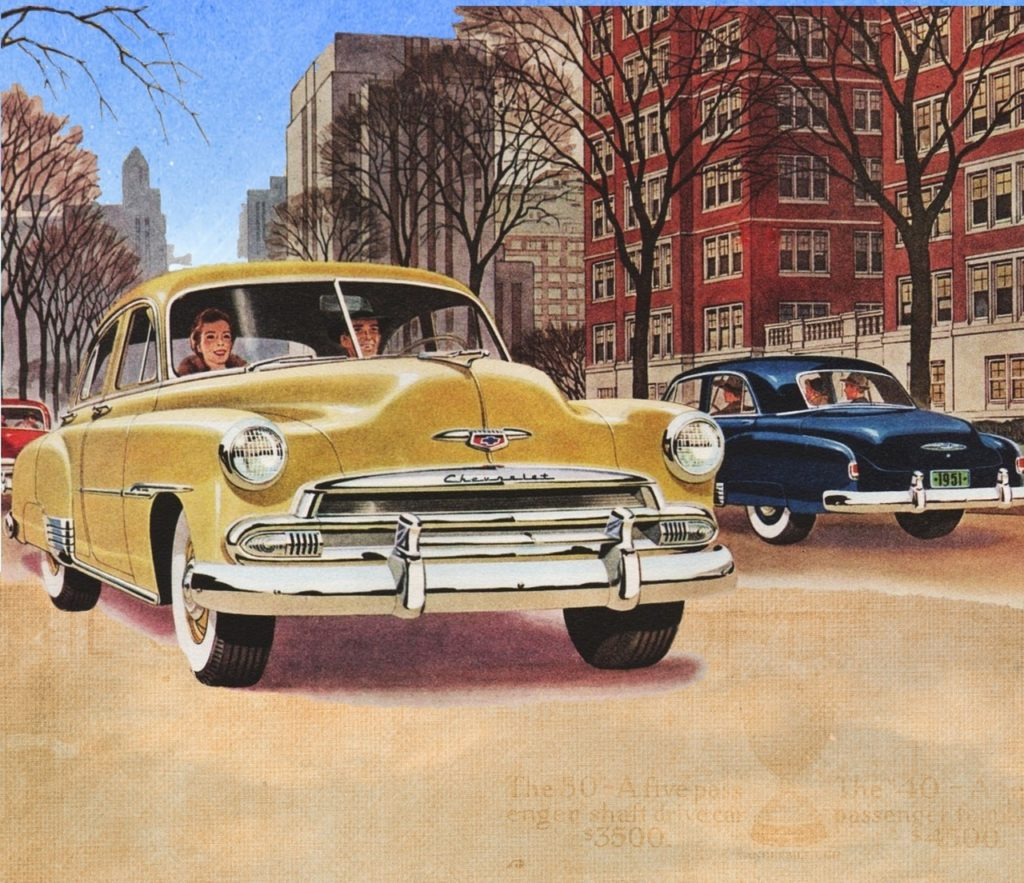 old-fashioned drawing of couple driving through a city in a car