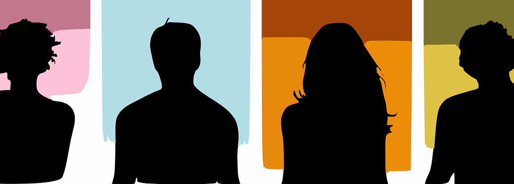 silhouettes of four people with various hair shapes
