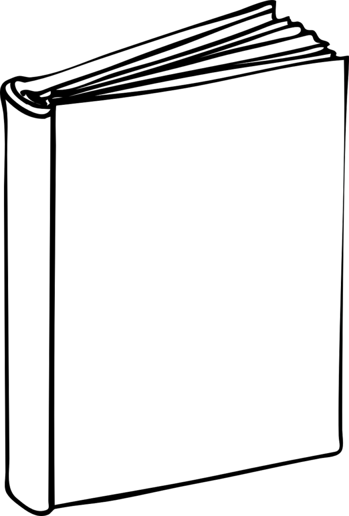 cartoon of book with blank cover