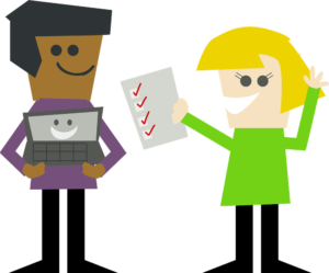 two cartoon people holding a laptop and a checklist