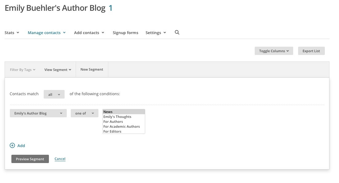 a screenshot showing a segment for emily's blog