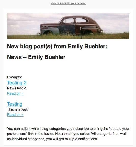 a screenshot showing the email campaign with two blog posts included