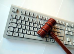 keyboard with gavel on it