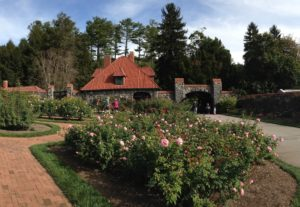 stone cottage behind paths and rose bushes