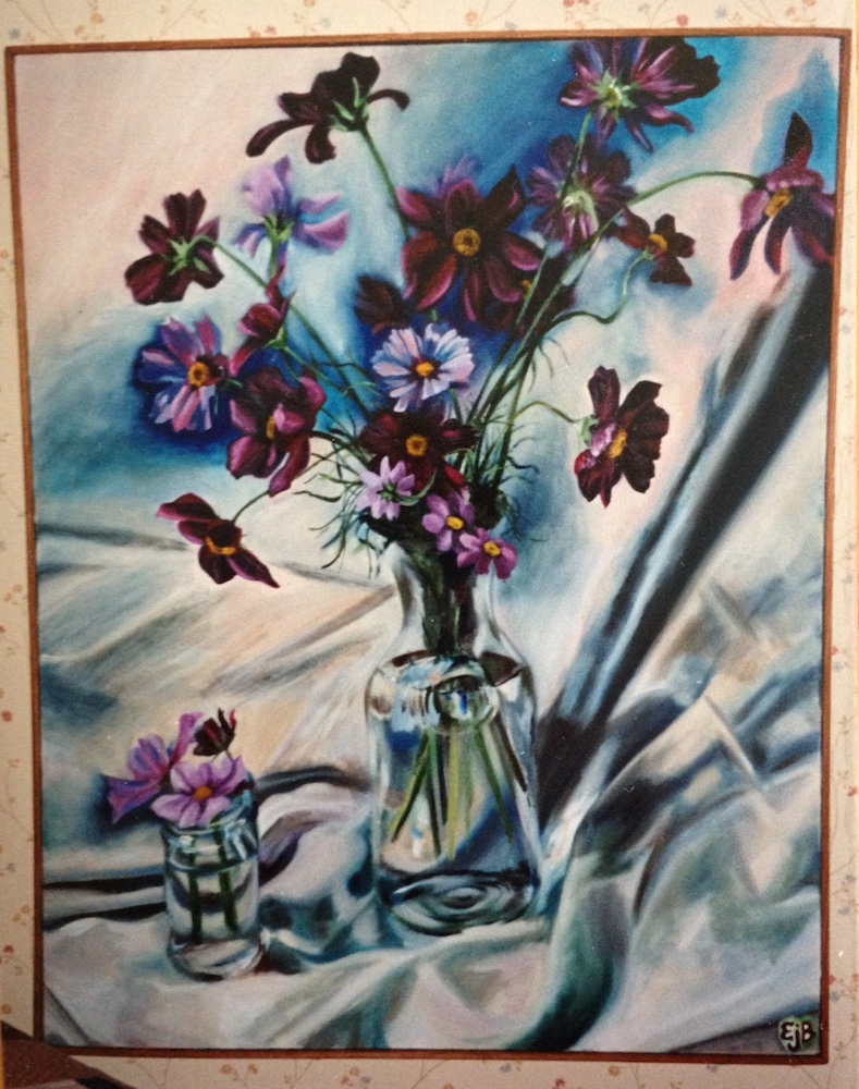 a dramatic, bright painting of flowers