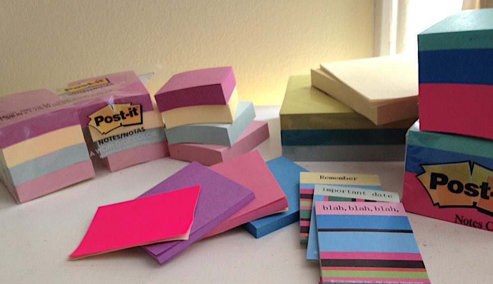 pile of post-it notes