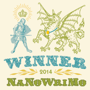 badge with knight and dragon that says Winner Nanowrimo 2014