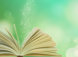 an open book with sparkles falling into it, with a magical green background