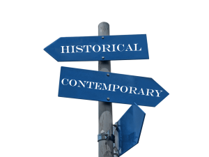 roadsign with arrows pointing toward historical and contemporary