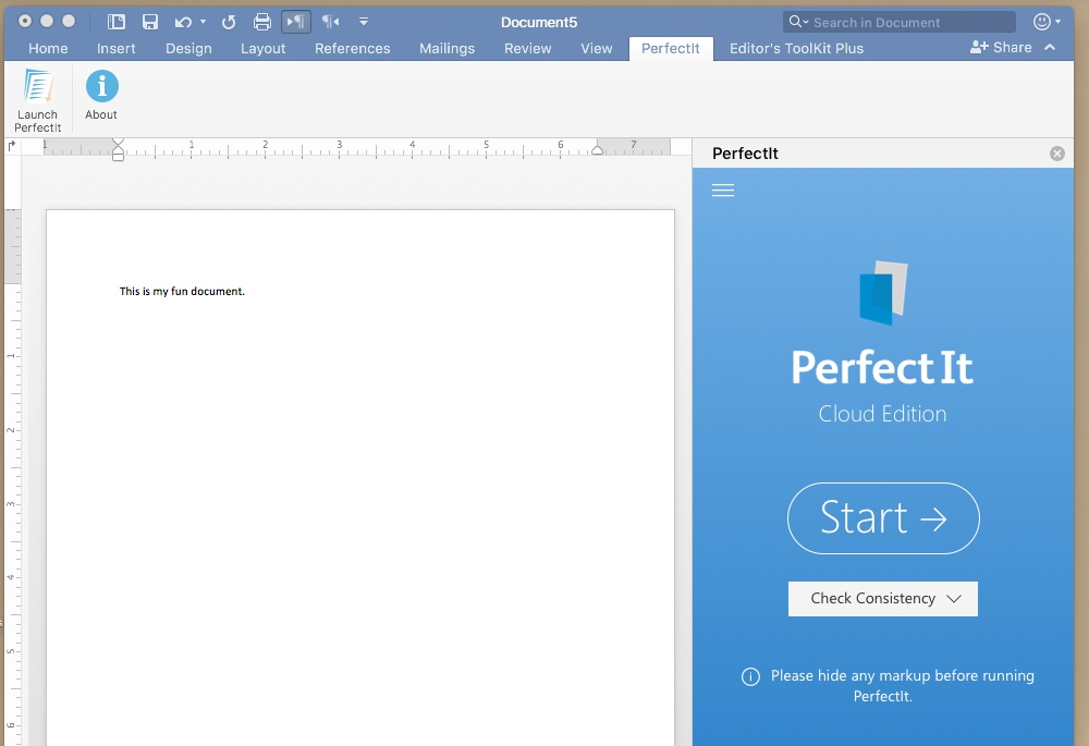 screen capture of PerfectIt in use