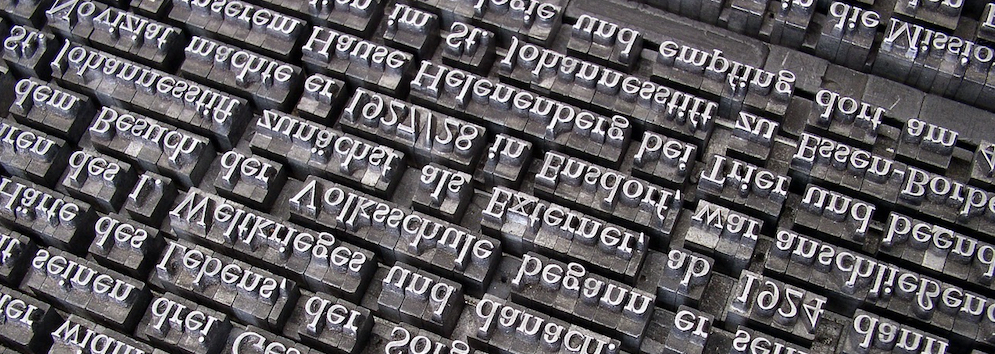 rows of type for print-making